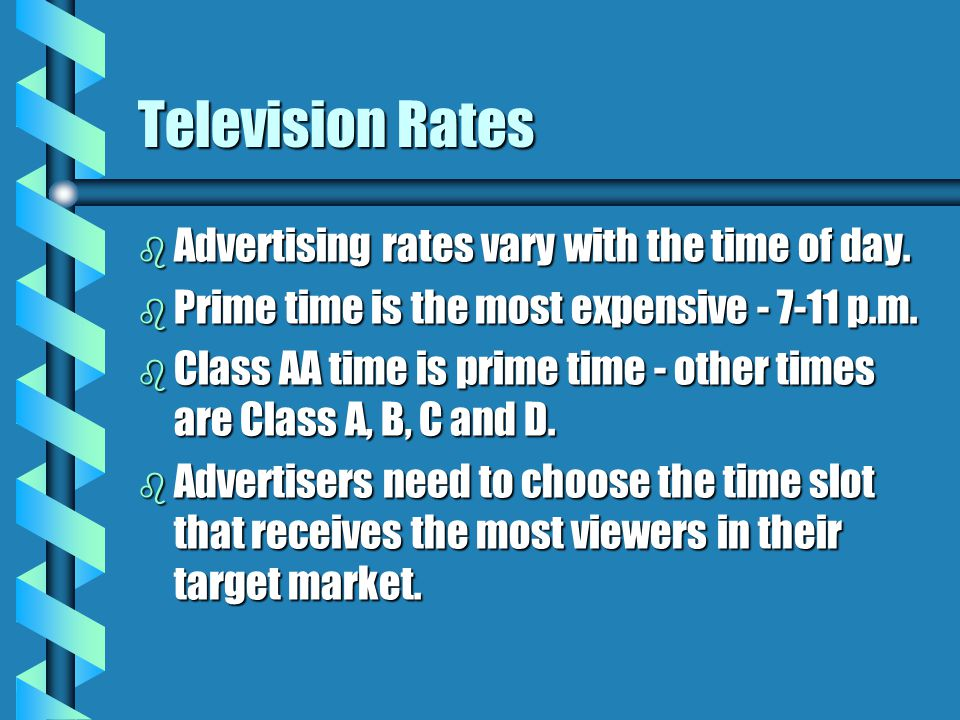 Television Rates Advertising rates vary with the time of day.
