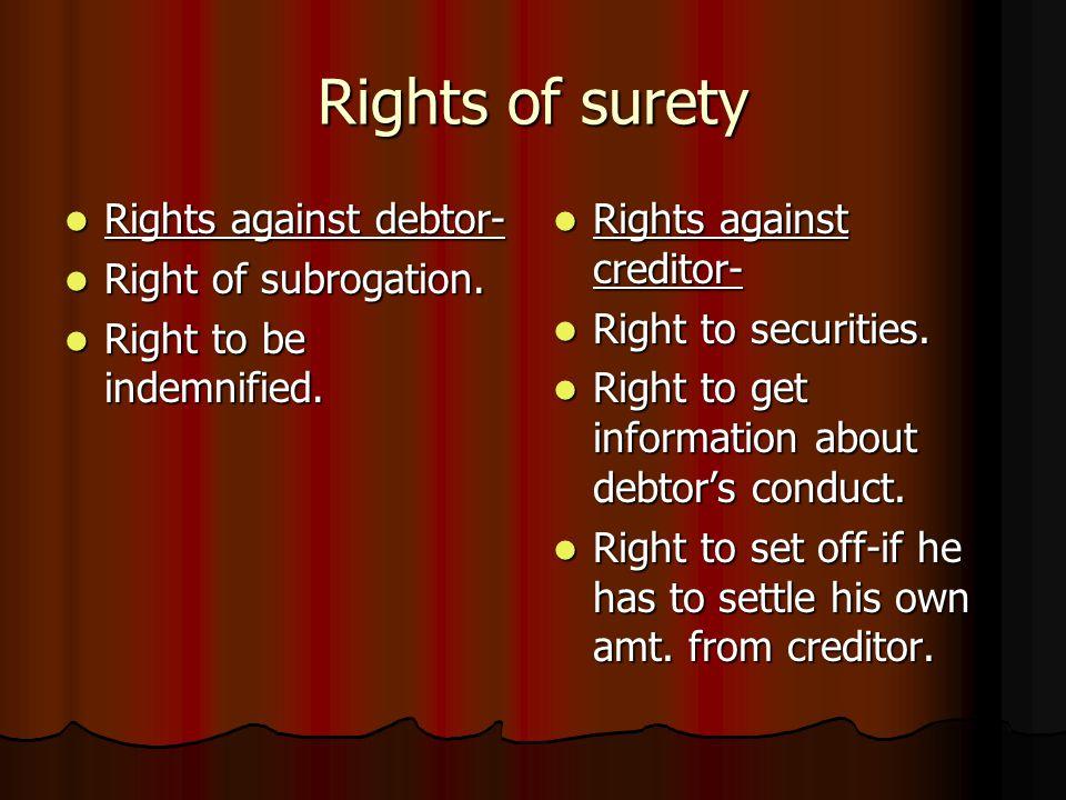 rights of surety against principal debtor