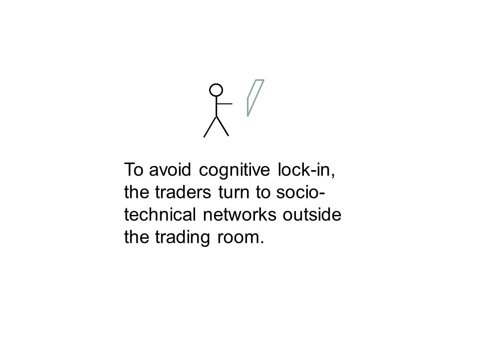 To avoid cognitive lock-in, the traders turn to socio-technical networks outside the trading room.