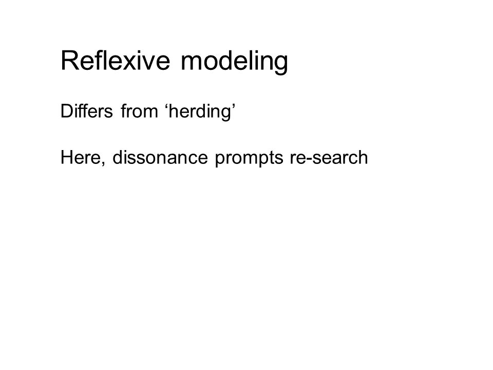Reflexive modeling Differs from 'herding'