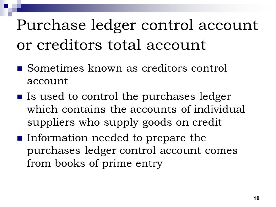Purchase ledger control account or creditors total account