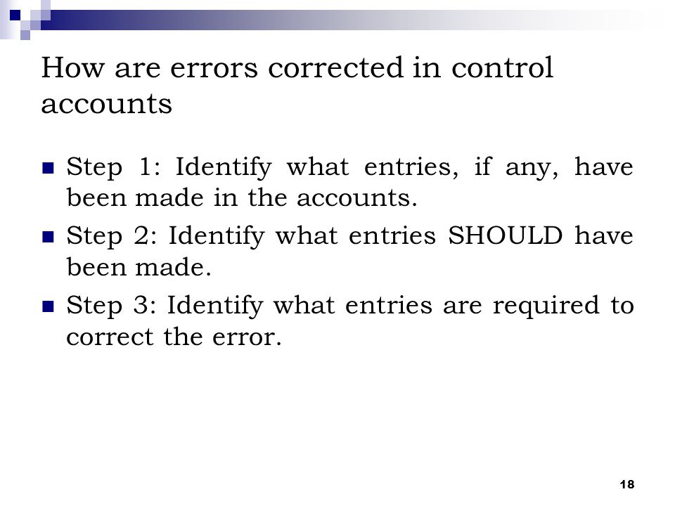 How are errors corrected in control accounts
