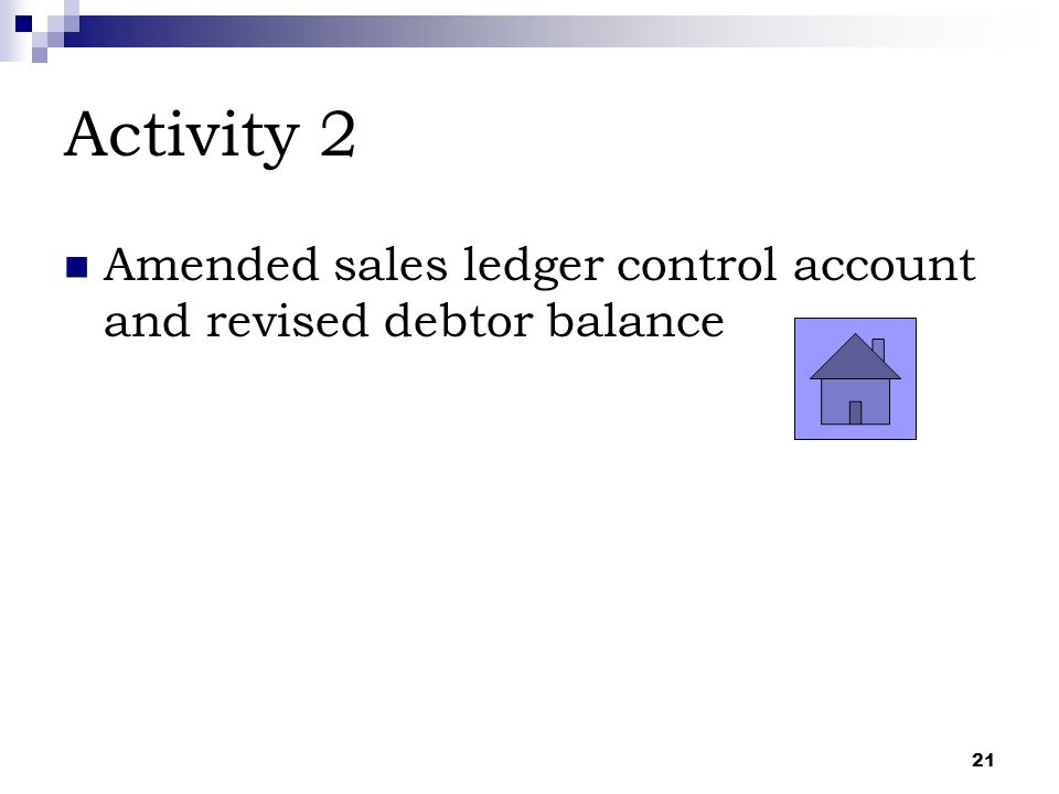 Activity 2 Amended sales ledger control account and revised debtor balance