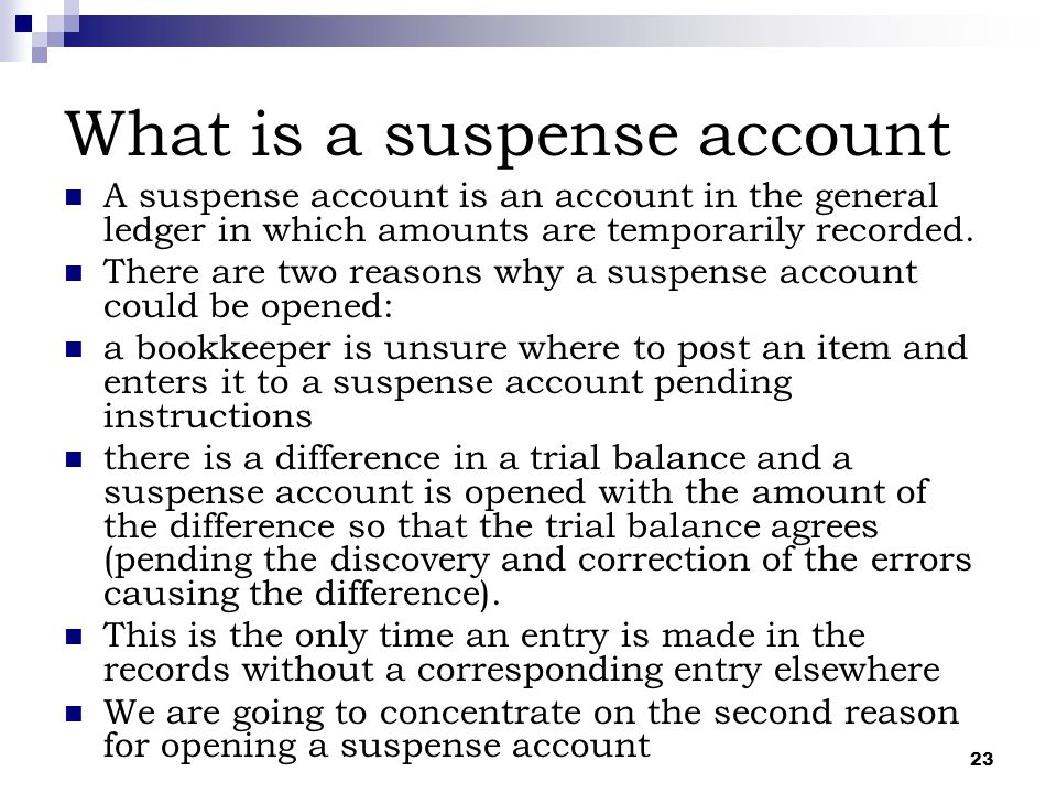 What is a suspense account