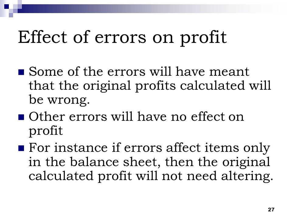Effect of errors on profit
