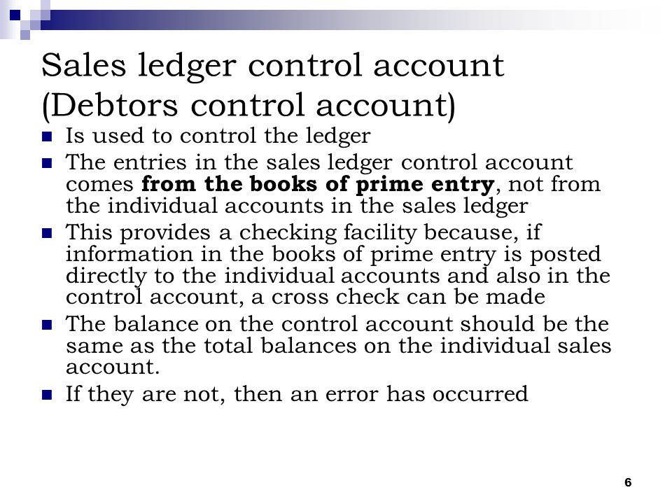 Sales ledger control account (Debtors control account)