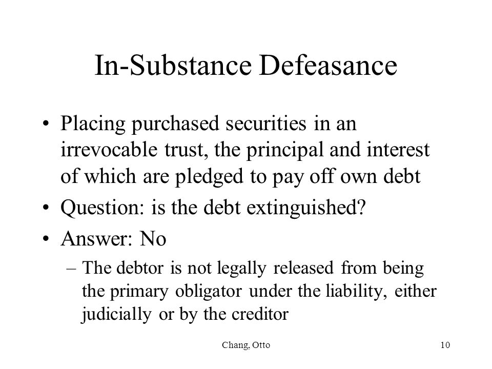 In-Substance Defeasance