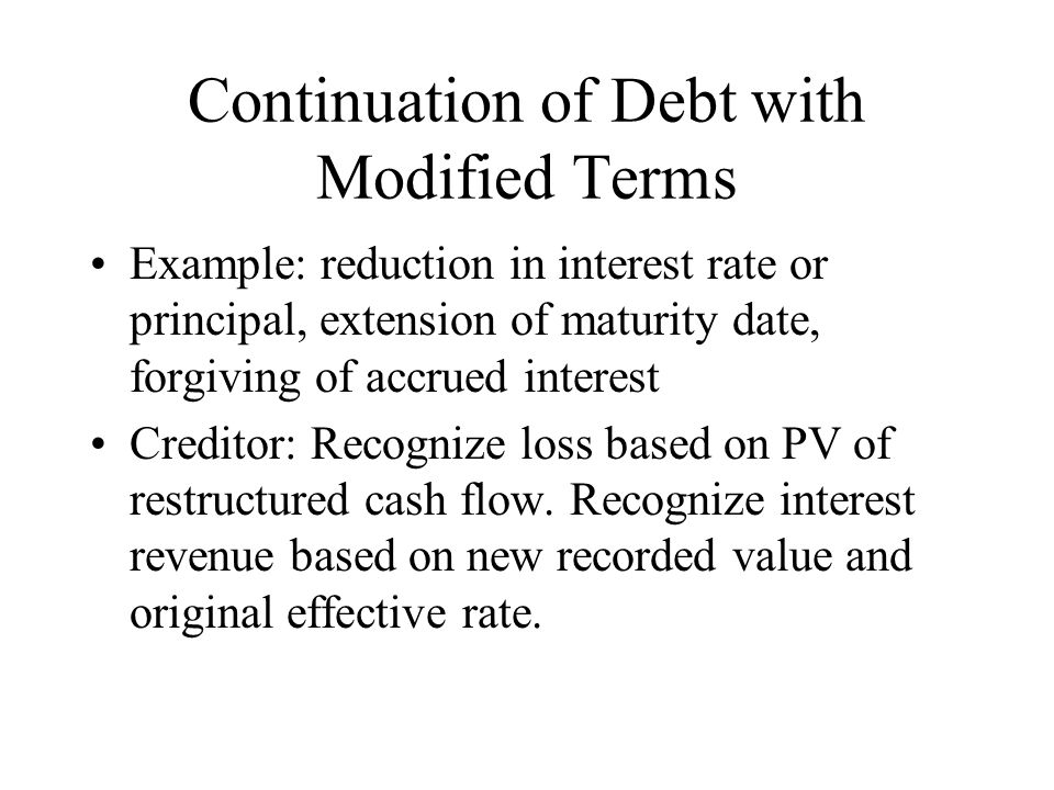 Continuation of Debt with Modified Terms