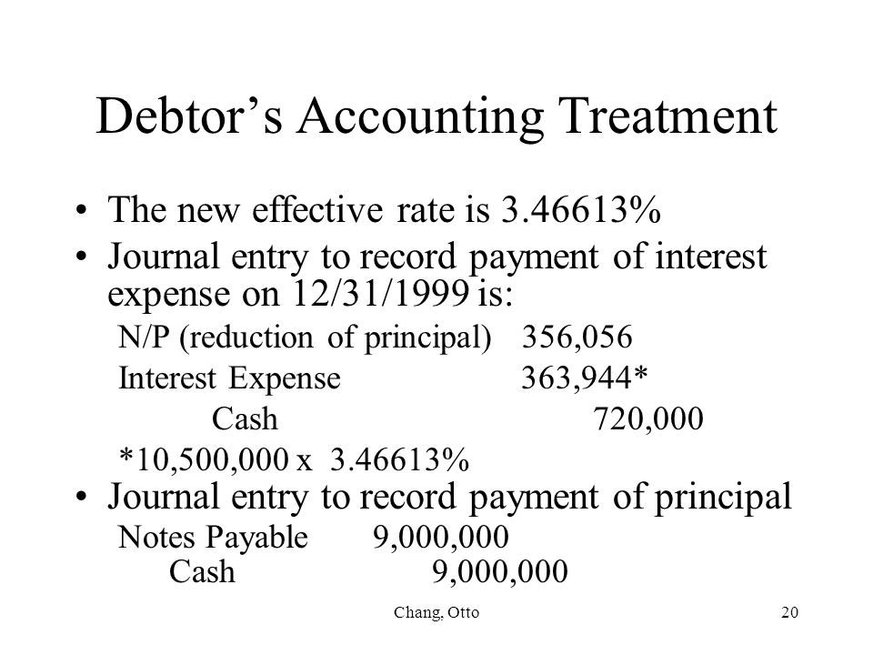 Debtor's Accounting Treatment