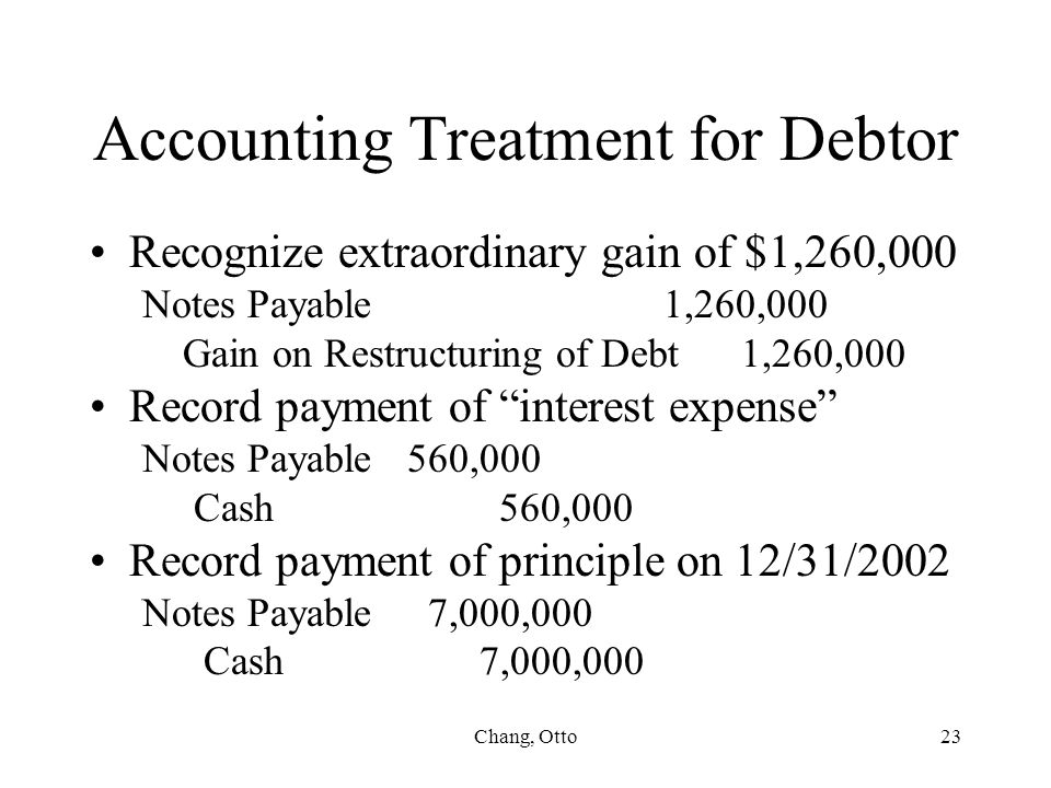 Accounting Treatment for Debtor