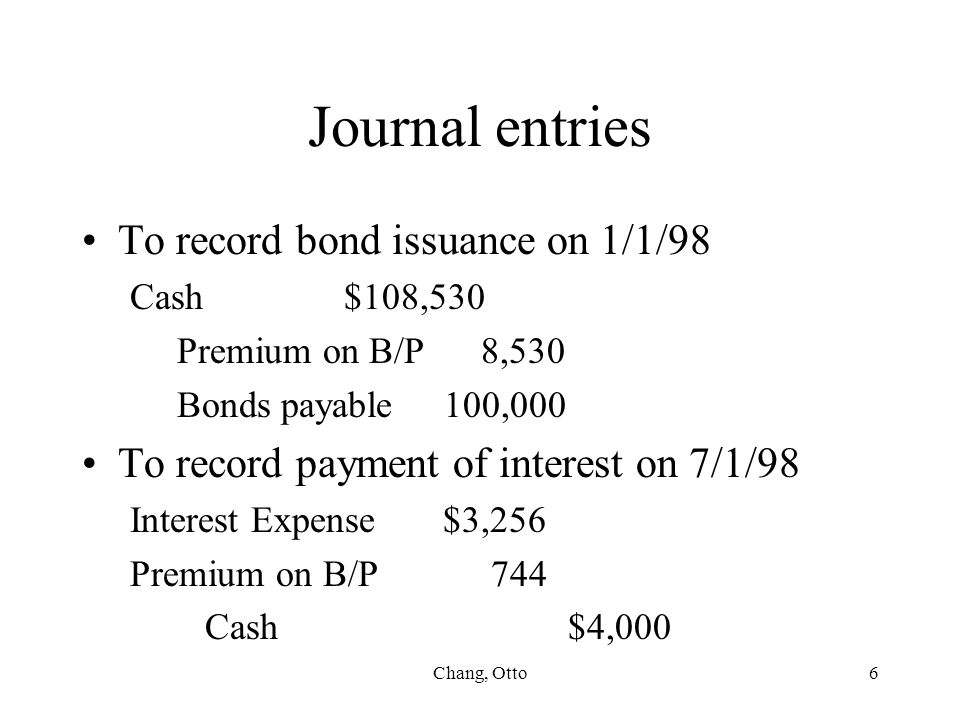 Journal entries To record bond issuance on 1/1/98
