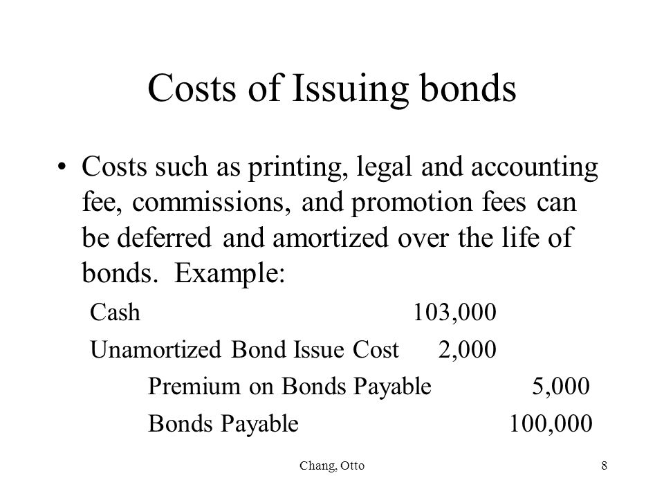 Costs of Issuing bonds