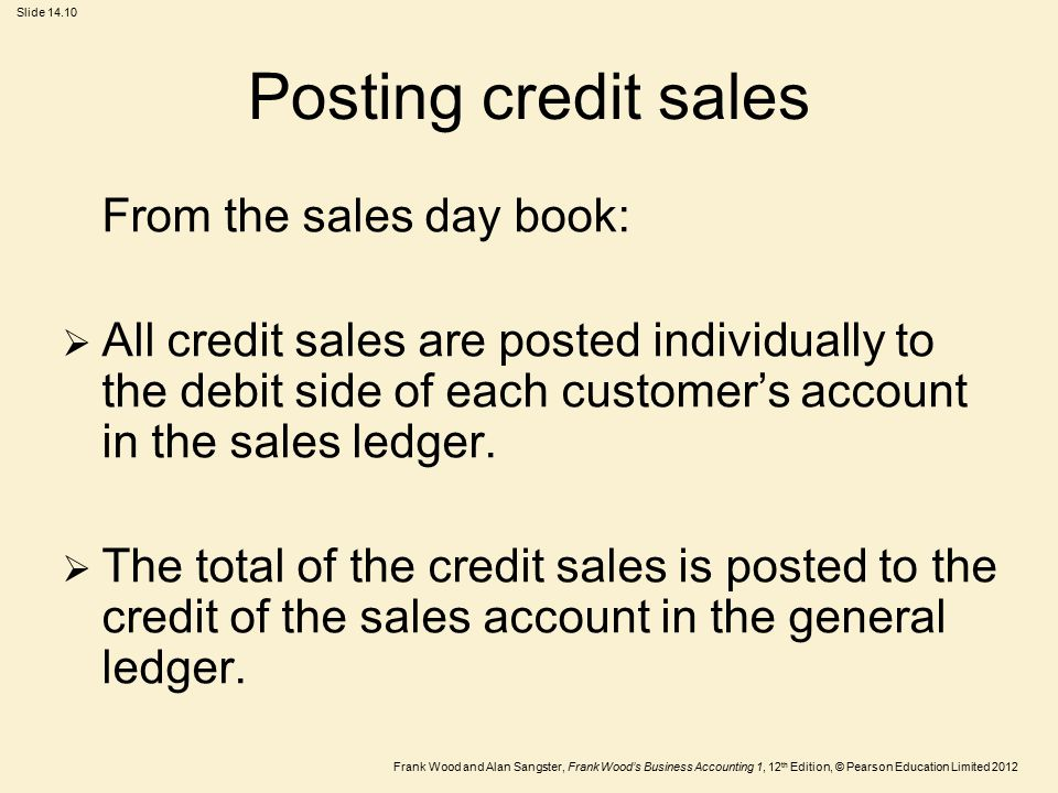 Posting credit sales From the sales day book: