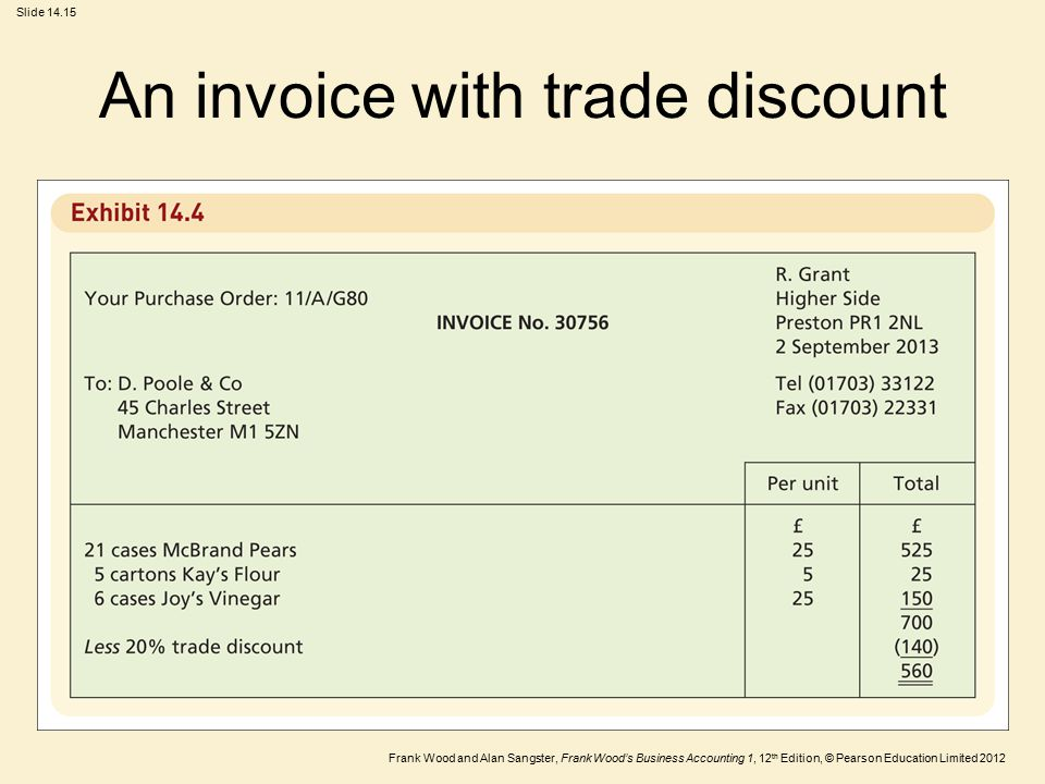 An invoice with trade discount