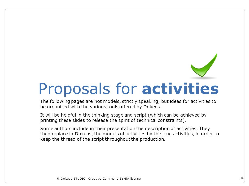 Proposals for activities