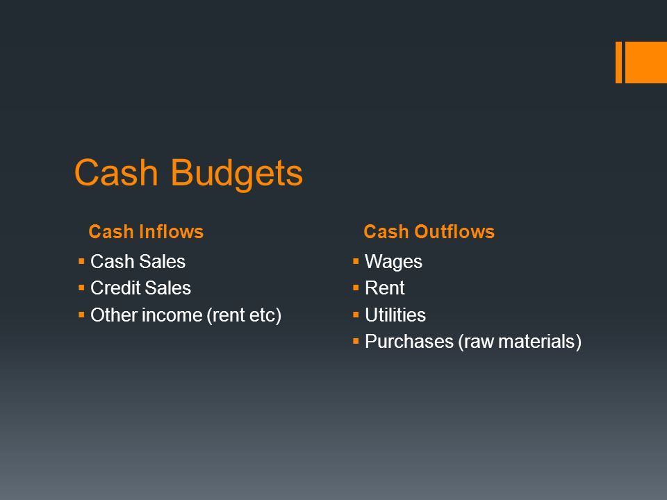 Cash Budgets Cash Inflows Cash Outflows Cash Sales Credit Sales