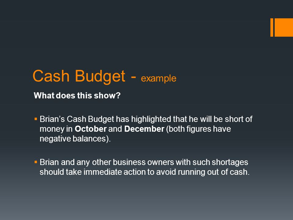 Cash Budget - example What does this show