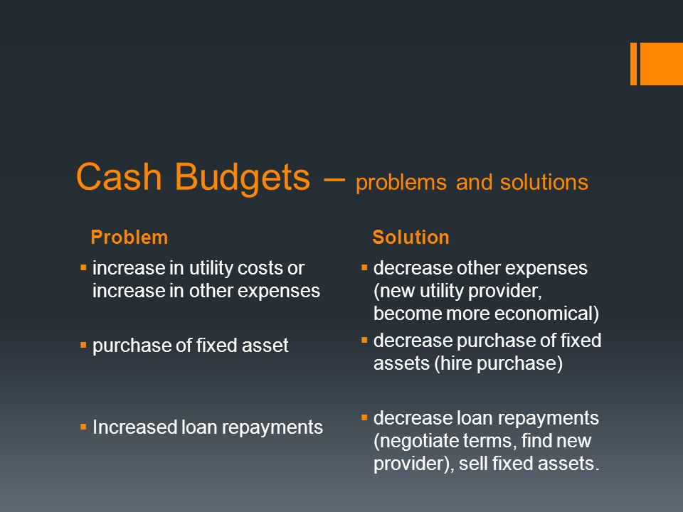 Cash Budgets – problems and solutions