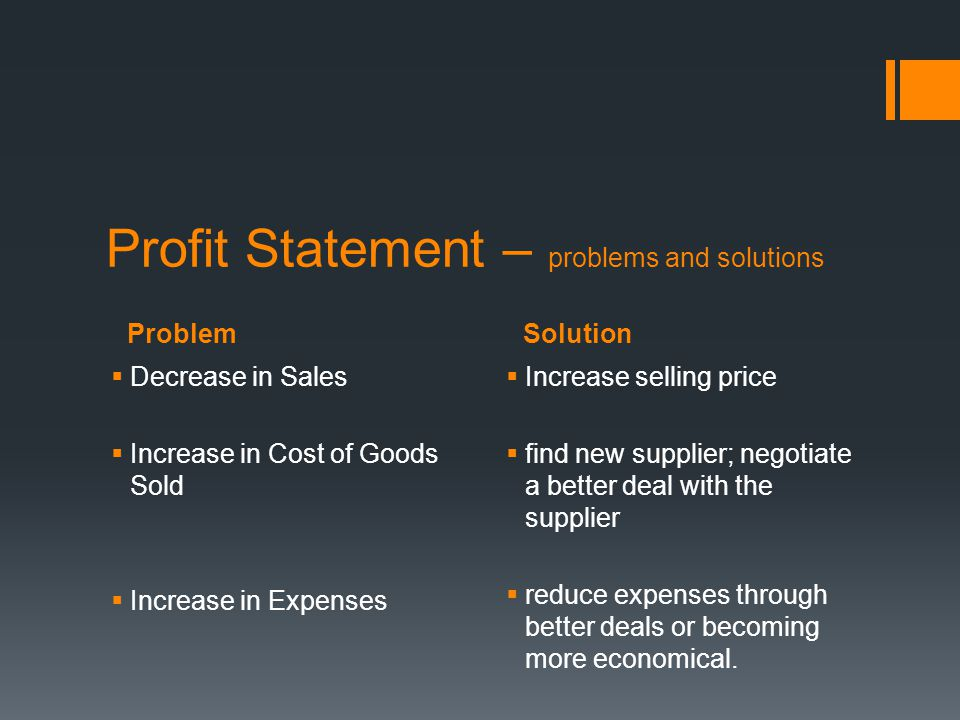 Profit Statement – problems and solutions