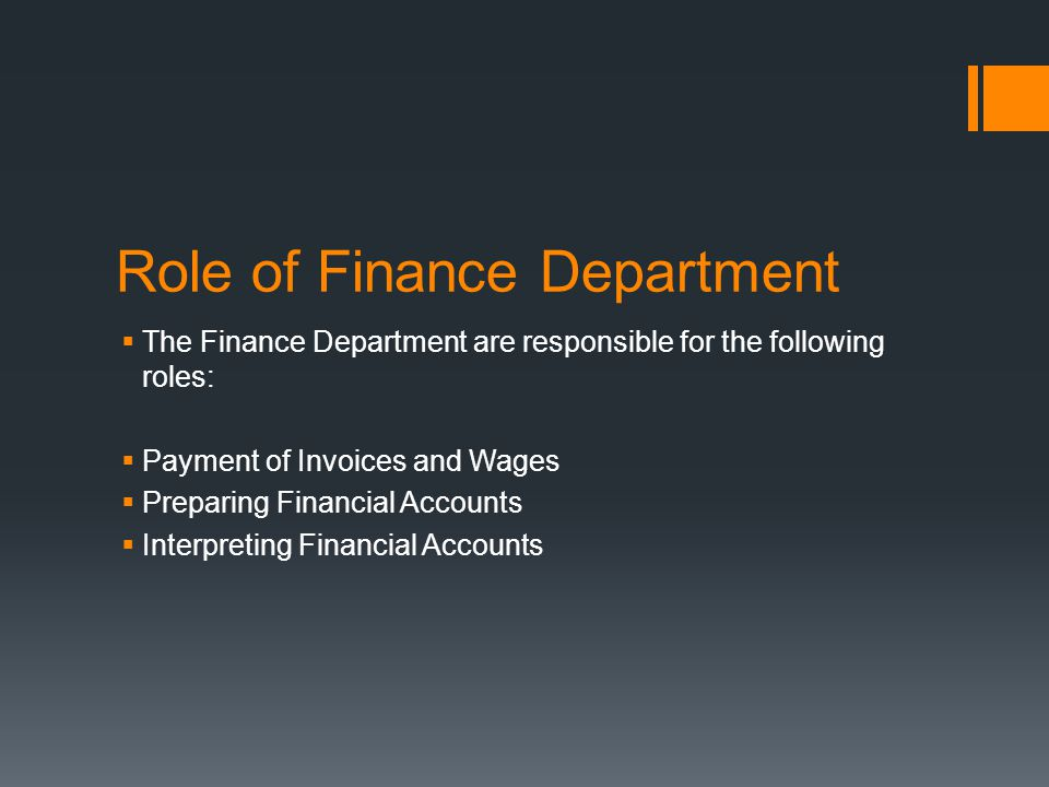 Role of Finance Department