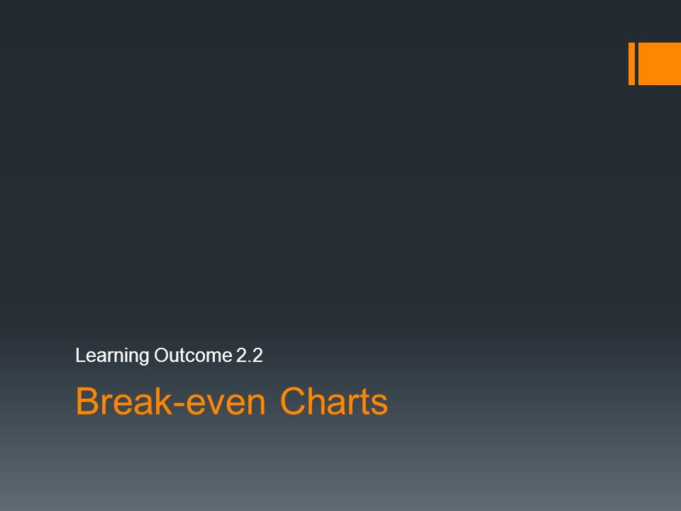 Learning Outcome 2.2 Break-even Charts
