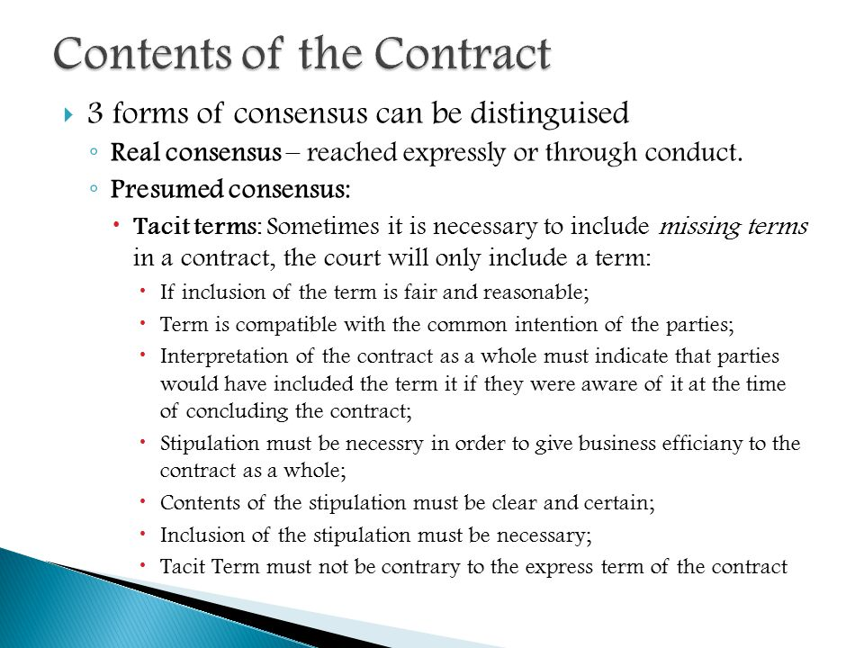 law of contract is body of Law of contract definition and nature a contract is an agreement between two parties that creates an obligation to perform (or not perform) a particular duty main body express and implied terms 1 define express terms and implied terms key cases: ashmore v lloyds, spring v national.