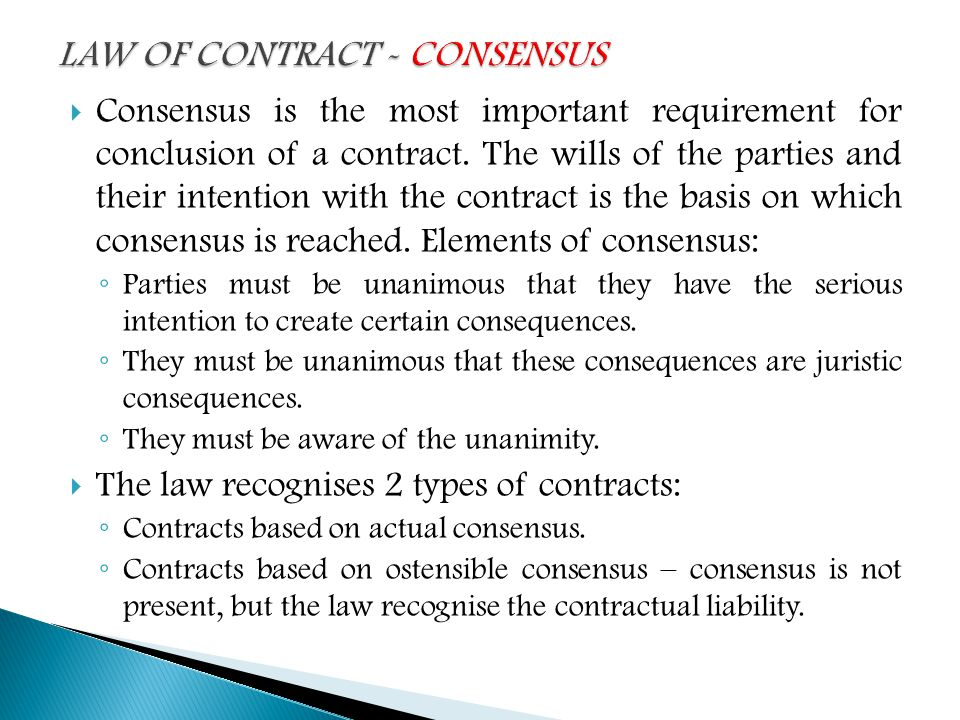 Law Of Contract Definition Basic Concepts And Consensus Ppt