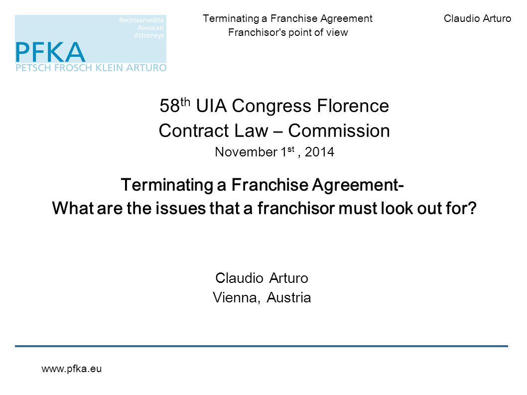 Terminating A Franchise Agreement Ppt Download