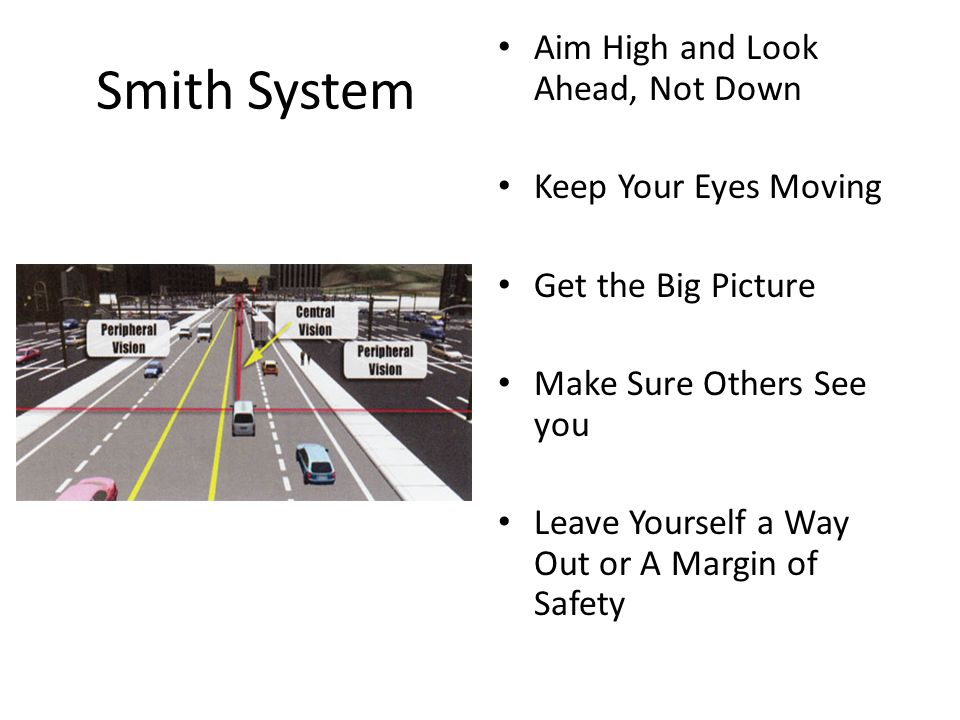 Smith System Aim High and Look Ahead, Not Down Keep Your Eyes Moving