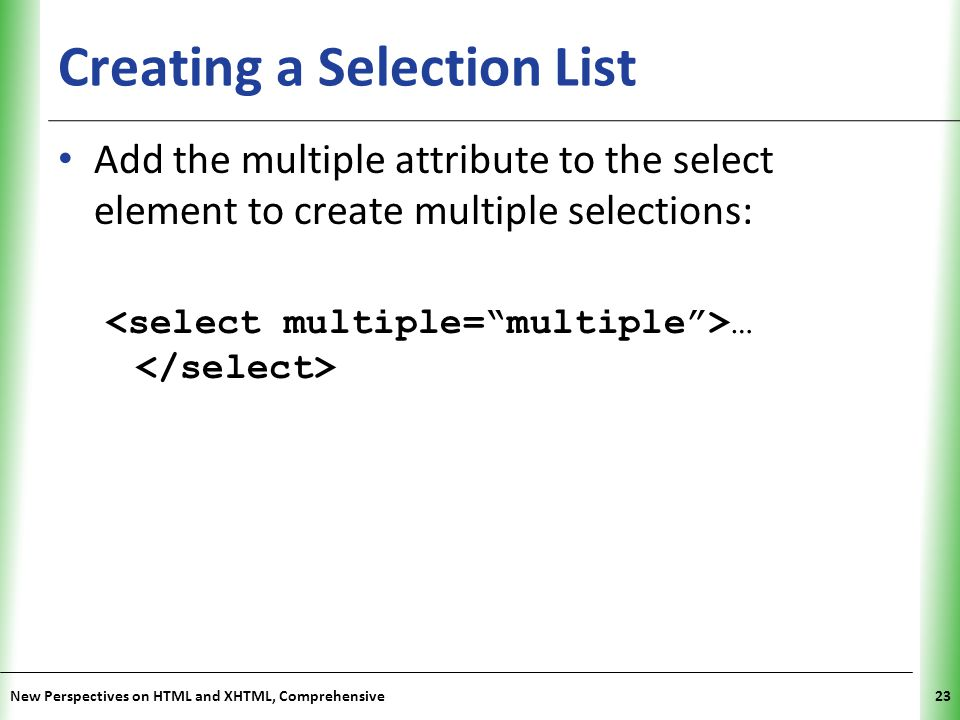 Creating a Selection List