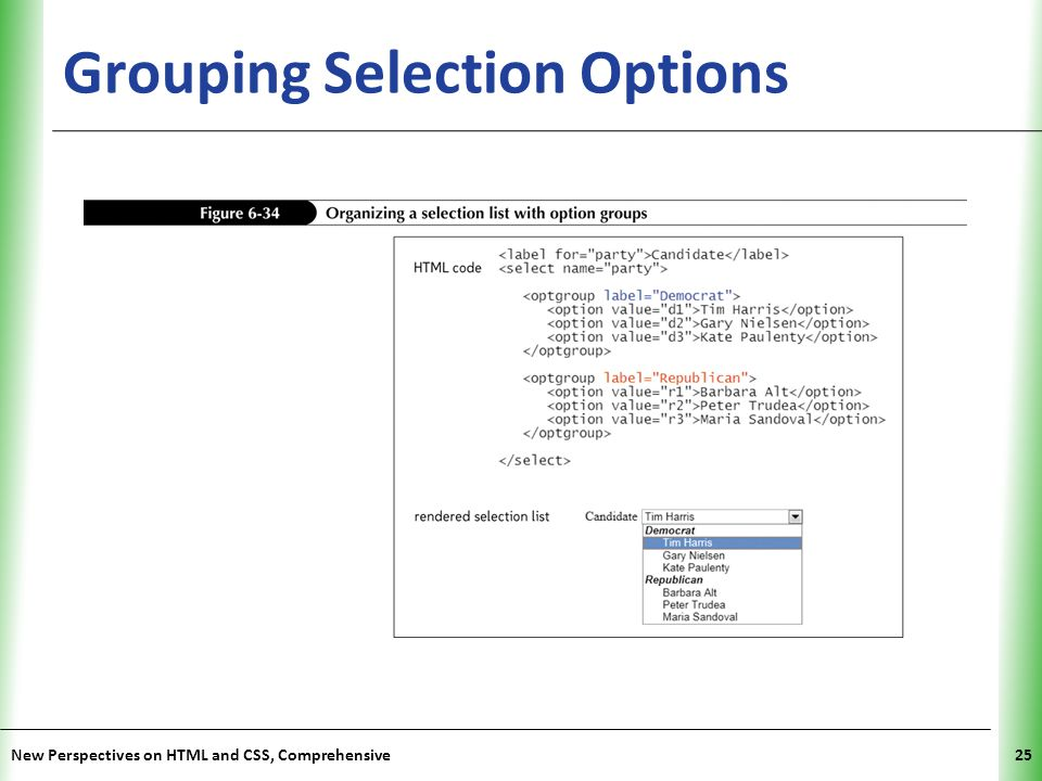 Grouping Selection Options