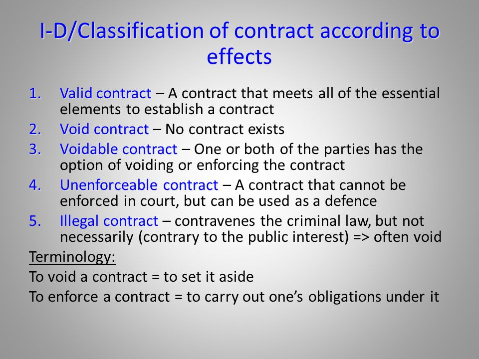 classification of contract according to validity