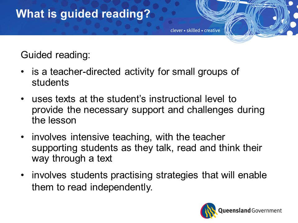 Guided reading (elementary) professional development outline.