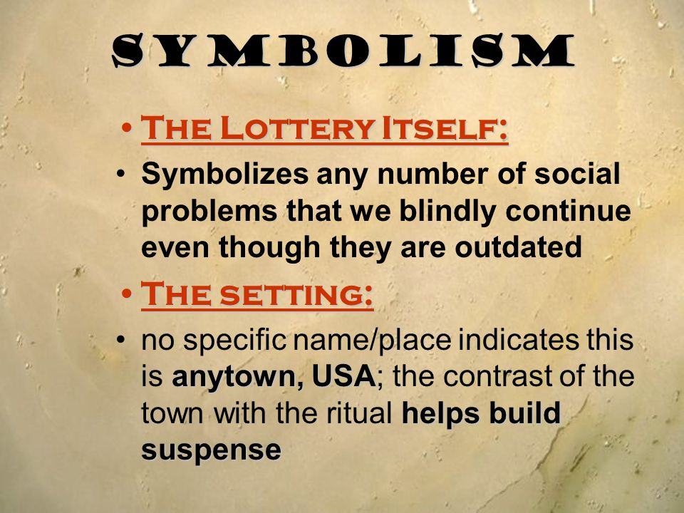 symbolism in the lottery essay Symbolism in the lottery shirley jackson uses symbolism in the lottery to establish tradition in the town and why the town's people follow tradition using symbols such as the black box, 3 legged stool, stones and other objects recognized in the story.