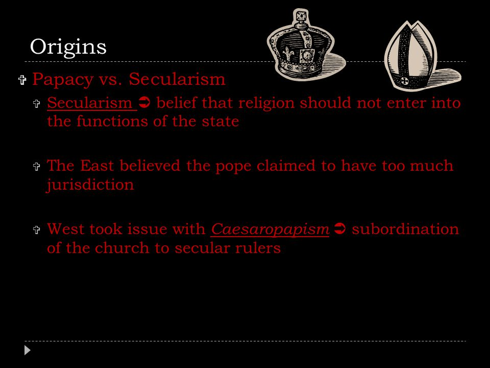 Origins Papacy vs. Secularism