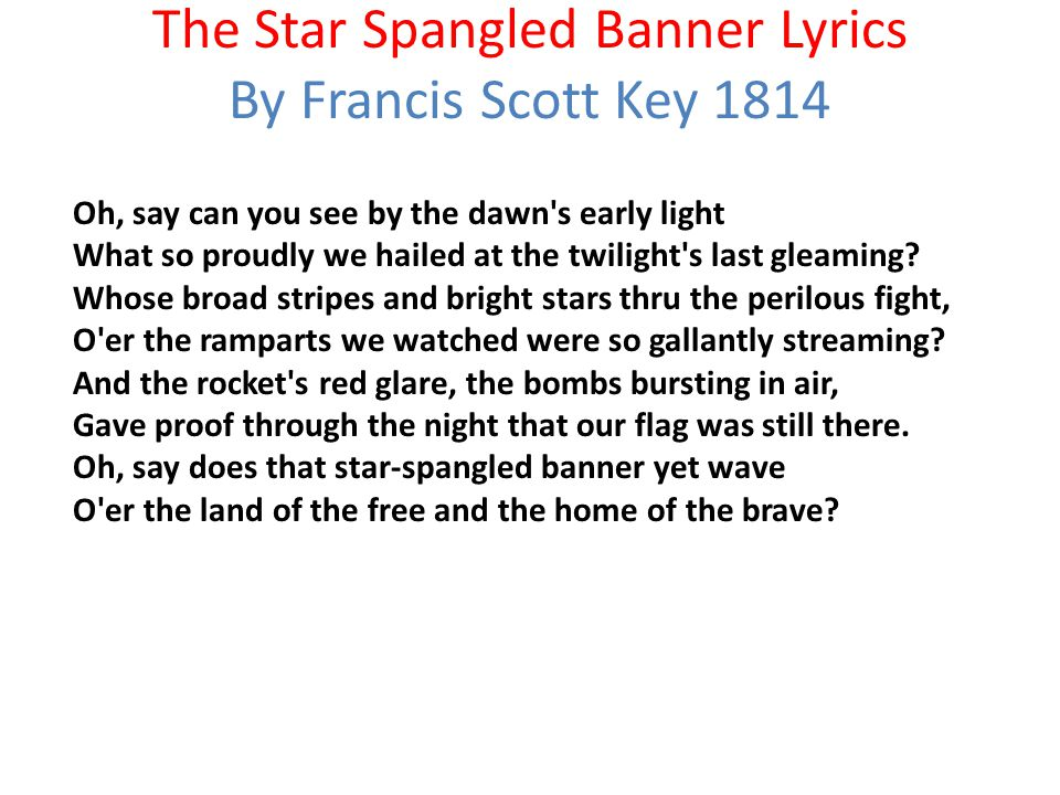 Lyric star banner lyrics : What text is referred to below? When you know, raise your hand ...