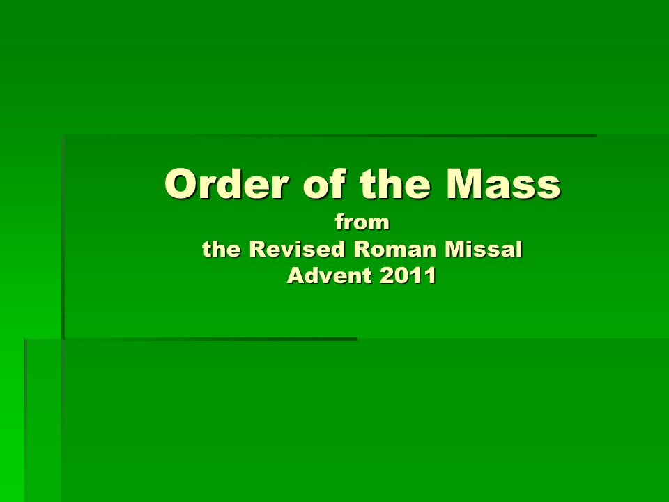 Order of the Mass from the Revised Roman Missal