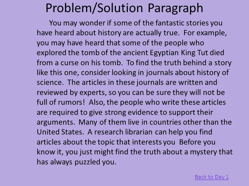 problem solution paragraph