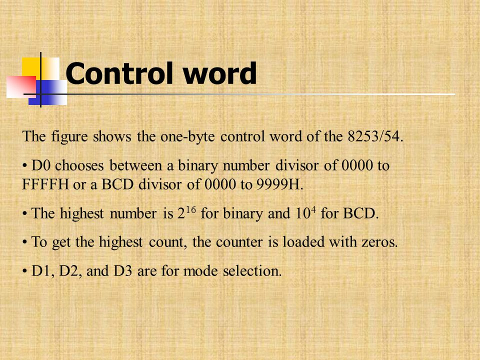 Control word The figure shows the one-byte control word of the 8253/54.