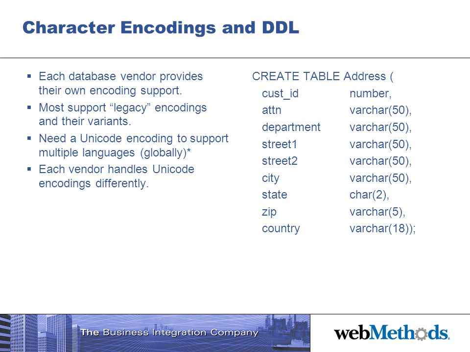 Character Encodings and DDL