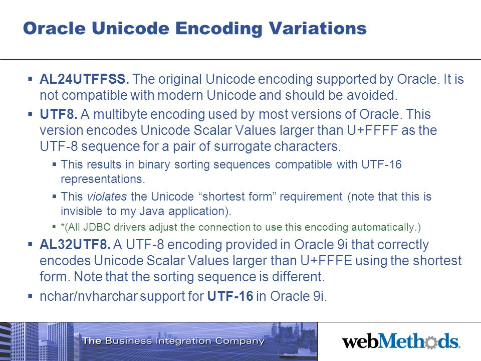 Oracle Unicode Encoding Variations
