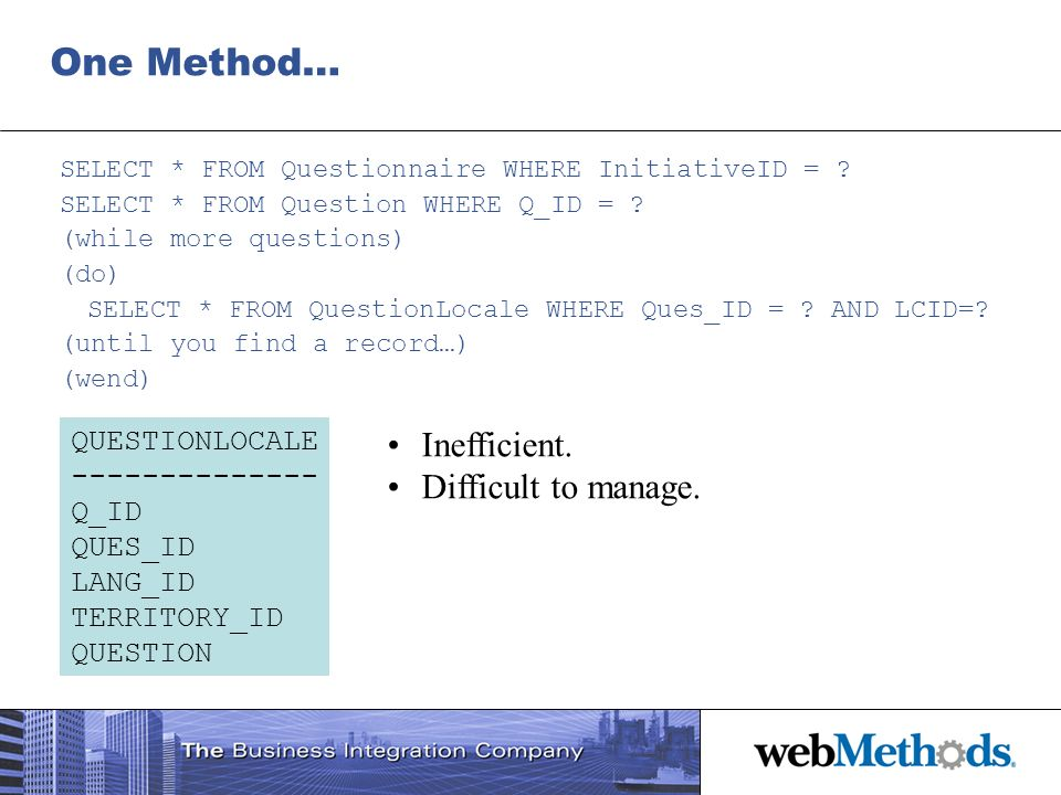 One Method… Inefficient. Difficult to manage. QUESTIONLOCALE