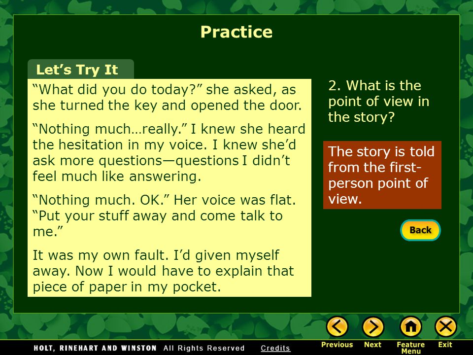 Practice Let's Try It 2. What is the point of view in the story