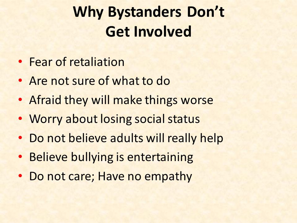 Why Bystanders Don't Get Involved