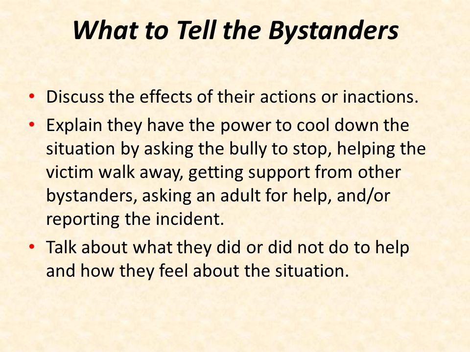 What to Tell the Bystanders