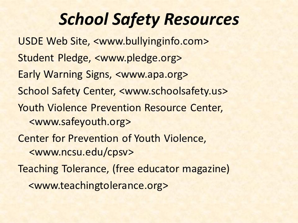 School Safety Resources