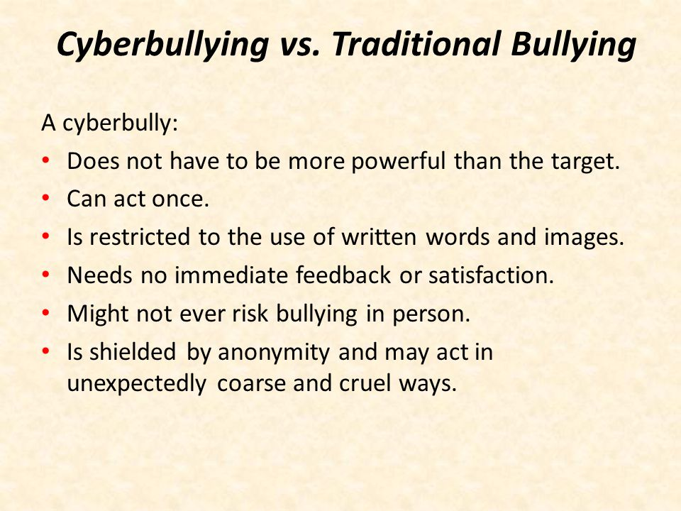 Cyberbullying vs. Traditional Bullying