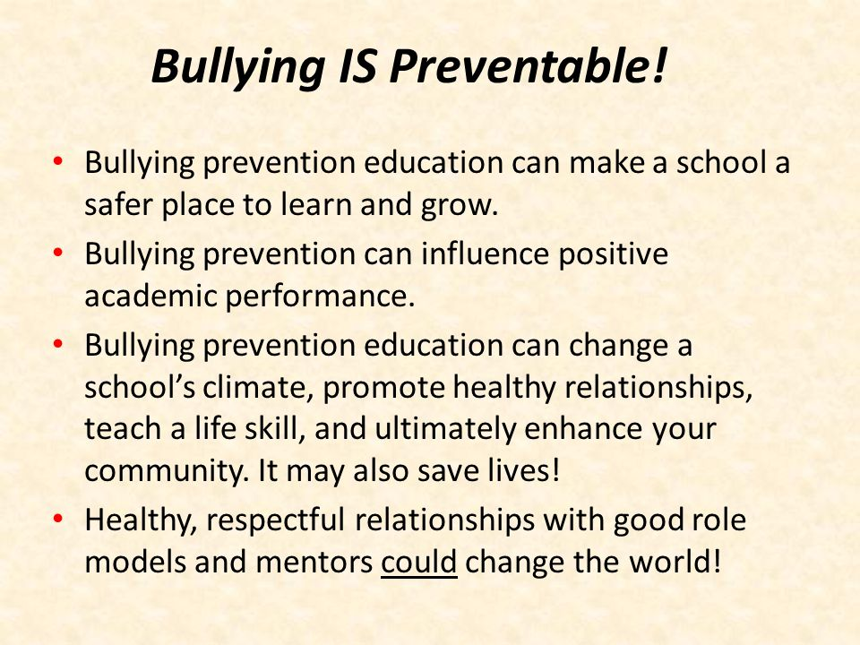Bullying IS Preventable!