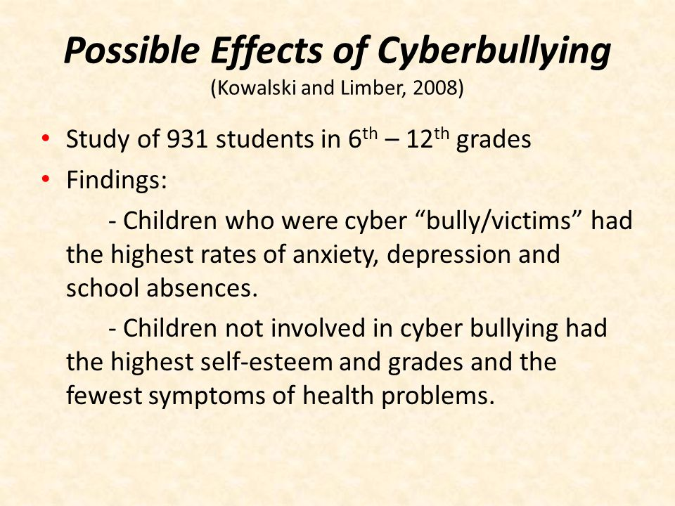 Possible Effects of Cyberbullying (Kowalski and Limber, 2008)