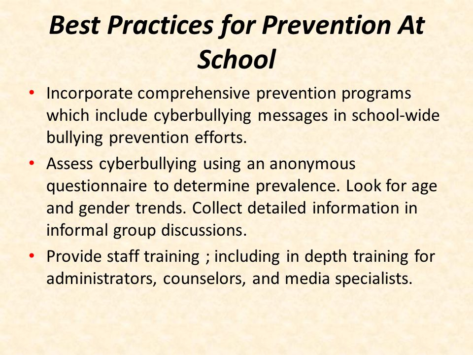 Best Practices for Prevention At School